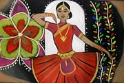 Featured Pastels Posters - Temple dance Poster by Nadira Karim