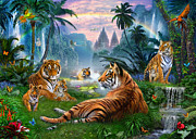 Woodland Digital Art Framed Prints - Temple Lake Tigers Framed Print by Jan Patrik Krasny