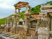 Library Digital Art - Temple of Hadrian-Ruins Coming Together-Ephesus-Turkey by Ruth Hager
