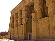 Hathor Digital Art Metal Prints - Temple of Hathor Dating Back to 3000 BC in Dendera-Egypt Metal Print by Ruth Hager