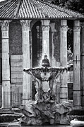 Fountain Digital Art Photos - Temple of Hercules and Fountain of the Tritons in Rome by Melany Sarafis