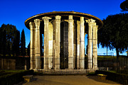 Round Metal Prints - Temple of Hercules Victor Metal Print by Fabrizio Troiani