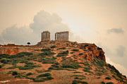 Gloaming Prints - Temple of Poseidon at Sounion Print by Deborah Smolinske