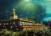 Sacred Digital Art Originals - Temple Of The Coral Reef by Graphicsite Luzern