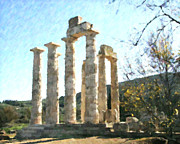 Greece Mixed Media Posters - Temple of Zeus Nemea Poster by Dan Chavez