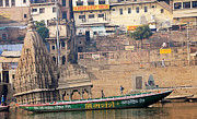 Temple On Boat Print by Money Sharma