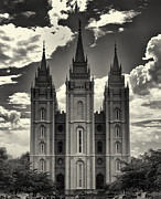 Angel Moroni Prints - Temple Square Black and White Print by Joshua House