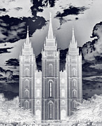 Nightmare Framed Prints - Temple Square Nightmare Framed Print by Joshua House