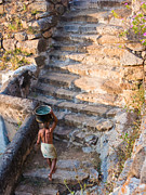 Stair Walk Prints - Temple Steps Print by Nila Newsom