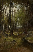 Birches Prints - Temple Woods Print by Max Weyl