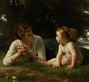 Toddler Painting Metal Prints - Temptation Metal Print by William Adolphe Bouguereau