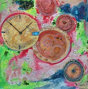 Clock Hands Mixed Media Framed Prints - Tempus Fugit  Framed Print by Ginger Concepcion