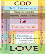 Christian Poster Acrylic Prints - Ten Commandments Acrylic Print by Judy Hall-Folde