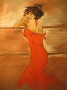 Red Dress Pastels - Tenacity by C Pichura