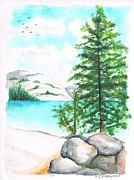 Yosemite Painting Originals - Tenaya Lake in Yosemite National Park - California by Carlos G Groppa