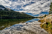 Cloudy Day Prints - Tenaya Lake Reflections Print by Cat Connor