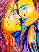 Couple Mixed Media Posters - Tender Moment Poster by Debi Pople