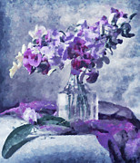 Floral Still Life Mixed Media Prints - Tender Moments Still Life Print by Zeana Romanovna