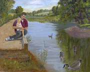 Canadian Geese Paintings - Tender Moments by Tommy Thompson