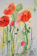 Gruenwald Mixed Media Framed Prints - Tender Poppies - Flower Framed Print by Ismeta Gruenwald