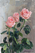 Grey Painting Prints - Tender roses Print by Victoria Kharchenko
