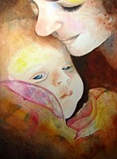 Abstract Mother And Child Paintings - Tenderly by Linda Hunt