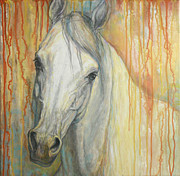 White Horse Paintings - Tenderness by Silvana Gabudean