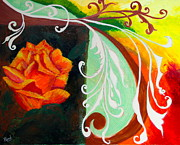 Tendrils Paintings - Tendrils and a Rose by Parul Mehta
