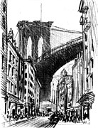 Sidewalks. Arches Framed Prints - Tenements Near Brooklyn Bridge 1909 Framed Print by Padre Art