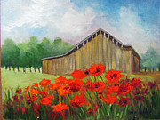"""texas Artist"" Originals - Tennessee Barn with Red Poppies by Barbara Haviland"