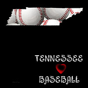 Baseball Art Digital Art Framed Prints - Tennessee Loves Baseball Framed Print by Andee Photography