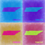 World Map Digital Art Metal Prints - Tennessee Pop Art Map 2 Metal Print by Irina  March