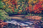 Autumn Leaves Pastels Framed Prints - Tennessee Stream in the Fall Framed Print by John Clark