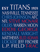 Nashville Tennessee Digital Art Metal Prints - Tennessee Titans Metal Print by Jaime Friedman