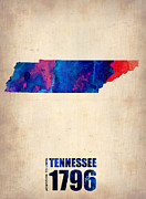 Map Art Digital Art Prints - Tennessee Watercolor Map Print by Irina  March