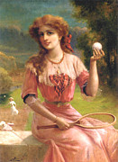 Tennis Player Metal Prints - Tennis Anyone Metal Print by Emile Vernon