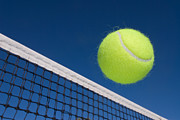 Slam Metal Prints - Tennis ball and net Metal Print by Joe Belanger