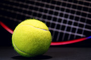 Tennis Ball Photos - Tennis Ball and Racket by Olivier Le Queinec