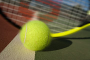 Slam Photo Prints - Tennis ball and racquet Print by Joe Belanger