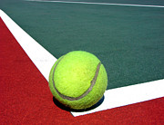Tennis Ball Prints - Tennis Ball on Court Print by Olivier Le Queinec