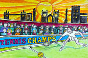 Tennis Drawings Posters - Tennis Champs Poster by Monica Engeler