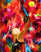 Racket Digital Art Framed Prints - Tennis I Framed Print by Lourry Legarde