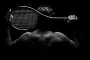 Racket Framed Prints - Tennis Player and his Racket Framed Print by David Lee