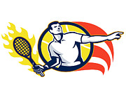 Sports Digital Art Metal Prints - Tennis Player Flaming Racquet Ball Retro Metal Print by Aloysius Patrimonio