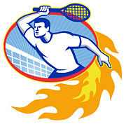 Fiery Digital Art Posters - Tennis Player Racquet Retro Poster by Aloysius Patrimonio