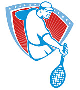 Player Prints - Tennis Player Racquet Shield Retro Print by Aloysius Patrimonio