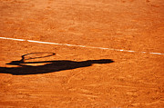 Clay Court Posters - Tennis player shadow on a clay tennis court Poster by Dutourdumonde Photography