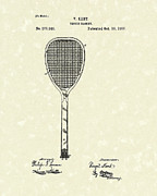 Sports Drawings Prints - Tennis Racket 1887 Patent Art Print by Prior Art Design