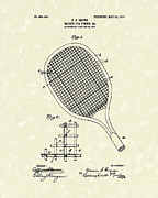 Tennis Racket Prints - Tennis Racket 1907 Patent Art Print by Prior Art Design