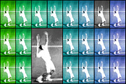 Sports Digital Art Metal Prints - Tennis Serve Mosaic Abstract Metal Print by Natalie Kinnear